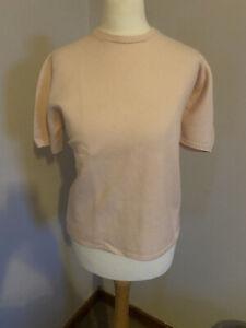 Ladies Johnstons Of Elgin 100% CASHMERE short Sleeved Crewe Neck Pink Jumper M