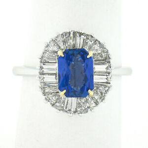Platinum & 18k Gold GIA Burma NO HEAT Sapphire Baguette Diamond Ballerina Ring