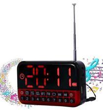 Radio Réveille Digital LCD HD Alarme Carte Sd MP3 FM Multifonctions Batterie
