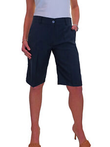 Ladies Knee Length Smart Casual Washable Tailored Shorts Navy Blue NEW 8-22