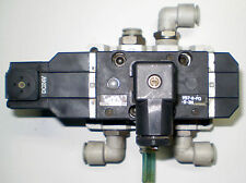 SMC PNEUMATIC SOLENOID VALVE & MANIFOLD VS7-8-FG-S-3N WITH 3/4 INCH FITTINGS
