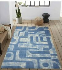 5'6 x 8' Rug   Hand Made  Hand Woven Wool White Blue  Area Rug