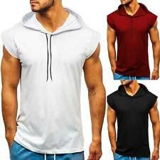 New Men Short Sleeve T-shirt Fitness Workout Gym Hooded Hoodie Muscle Solid Top
