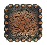 "Western Decor Tack Black Copper Engraved 1 3/8"" Concho"