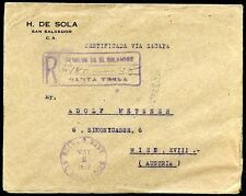 EL SALVADOR TO AUSTRIA ST. TECLA Cancel on Registered Cover 1927 VF