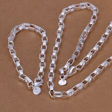 Fashion 925 Silver Pretty solid box chain women men Bracelet Necklace set