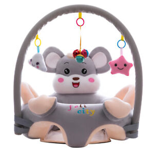Cartoon Baby Infant Learning Sit Chair Baby Support Seat (Grey w/ Pole)