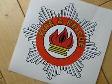 "Fire & Rescue Star Badge Self Adhesive Car Sticker 6"" Pedal Van Truck Trailer"