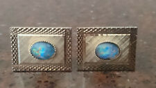 Genuine Vintage 70's Cufflinks set with Real OPALS.
