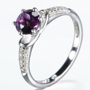 Solid 10k White Gold Round 6mm Amethyst Real Diamonds Gemstone Ring Fine Jewelry