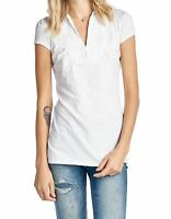 NWT UNION BAY WOMEN'S COLLARED TOP V-NECK SOLID S/S CAP SLEEVE WHITE 'XL' MSRP24