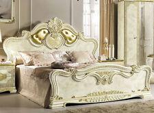 Klassisches Doppelbett Bett Bettgestell Beige Gold Hochglanz Italienische Möbel