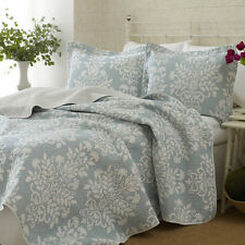 3pc LAURA ASHLEY Coverlet QUILT Set KING Size REVERSIBLE Bedspread BLUE / WHITE