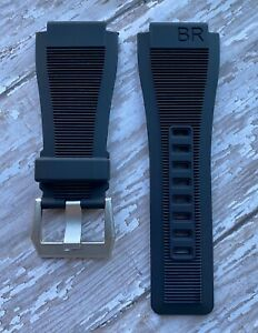 Bell & Ross BR-X1 BR01 BR03 Black rubber Band - New Style Strap SILVER Buckle