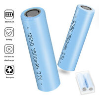 2 Pack 3500mAh 18650 INR Li-ion Rechargeable Battery Flat Top For Flashlight Toy