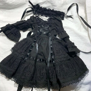 "BJD Doll Clothes YoSD Dress (Black) -  for 1/6 10.2"" doll outfit"