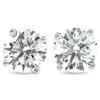 VS 2 Ct TW Round Moissanite Studs 14k White Gold