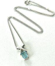 Solid Sterling Silver Kiss & Aqua Colour Stone delicate Pendant Necklace