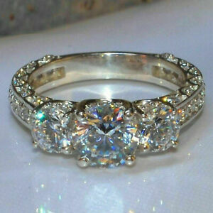 Real 14k White Gold 3 CT Diamond Round Cut Three Stone Engagement Ring Certified