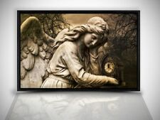 WANDBILD LEINWAND BILD GOTHIC ENGEL STATUE IN SCHATTENFUGENRAHMEN SCHWARZ GR335