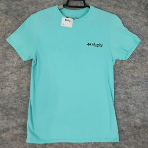 Columbia T-Shirt Top Womens Small Blue Performance Gear Graphic 2 Sided Logo
