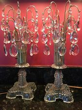 PAIR TALL Antique Hobnail Glass LUSTRE LAMPS Waterfall Prisms