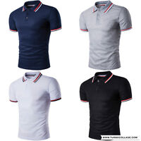 MENS Moisture WICKING POLO T SHIRTS PERFORMANCE SPINNER collar cuff stripes Tops