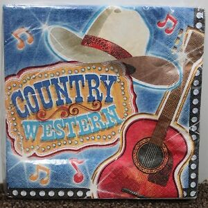 COUNTRY WESTERN LUNCHEON NAPKINS Music American Cowboy Hat Birthday Guitar NEW