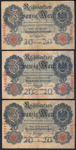 1907 1909 1910 20 Mark Germany Lot 3 Vintage Paper Money Banknote Currency Notes