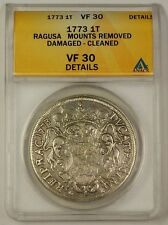 1773 Ragusa 1 Tallero Silver Coin VF-30 Details Mounts Removed Damaged Cleaned