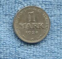 1924 Silver 1 Mark Reichsmark Germany B-44