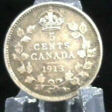 1913 CANADA SILVER 5 CENTS COIN