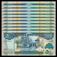Lot 10 PCS, Somaliland 500 Shillings, 2011, P-6h, UNC