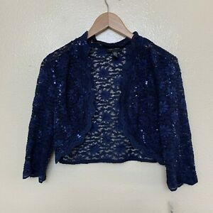 R&M Richards Women's Formal Crop Jacket Lace Size 8 Sequined Navy Scalloped Trim