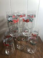 """(12) Vintage LIBBEY Christmas Holly/Red Bow 6"""" Water/Collins Glasses Barware"""