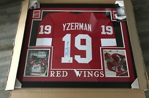 Steve Yzerman #19 Detroit Red Wings Framed (Autographed)  Jerseys w/COA