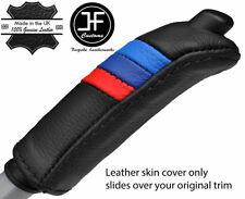 BLACK STITCH M STRIPE HANDBRAKE HANDLE LEATHER COVER FOR BMW 3 SERIES E46 99-05