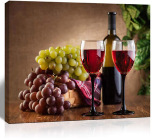 The Melody Art giclee grape and wine canvas print wall art kitchen accessories w