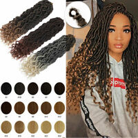 US Goddess Locs Deep Curly Faux Locs Dreadlocks Crochet Braids Hair Curly Ends H