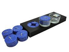 10 Stearin Teelichter Dunkelblau ohne Hülle Kerzenfarm Hahn inkl. 2 Glashalter