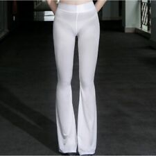 Sexy Transparent Flare Pants for Women Ultra-thin Oily Shiny Fishtail Pants