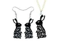 Easter Rabbit Bunny Black Acrylic Cutting Drop Earrings Style