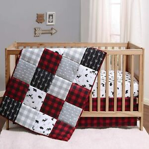 The Peanutshell Buffalo Plaid Crib Bedding 3 Pieces for Boys or Girls Red, Black