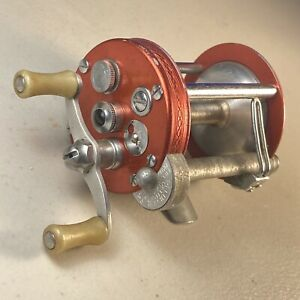 Vintage Pflueger Deluxe Nobby 1960 Casting Reel -  Functions Well - Rare Red