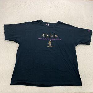 Vintage Champion 1996 US Olympics Summer Games T-Shirt Size 2XL Blue Cotton Mens