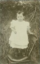 Young Girl Standing Chair Outdoors   Vintage    PC   RJ.1262