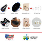 Dual Ports Car Charger&Qi Wireless Charger Mat&360° Finger Ring Stand Holder