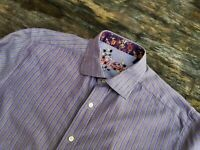 Robert Graham size LARGE stripe button front shirt GREAT CONDITION