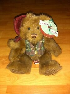 "Velvet Plaid Teddy Bear Christmas Minky Plush Animal Toy First and Main 8"" tags"