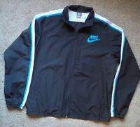 Vintage 90s Nike Full Zip Track Jacket Men Sz L Windbreaker Black White Blue